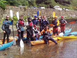 Training group sea Kayaking